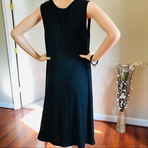 Relaxx Dresses - Black Dress With White Printed Soft and Stretchy